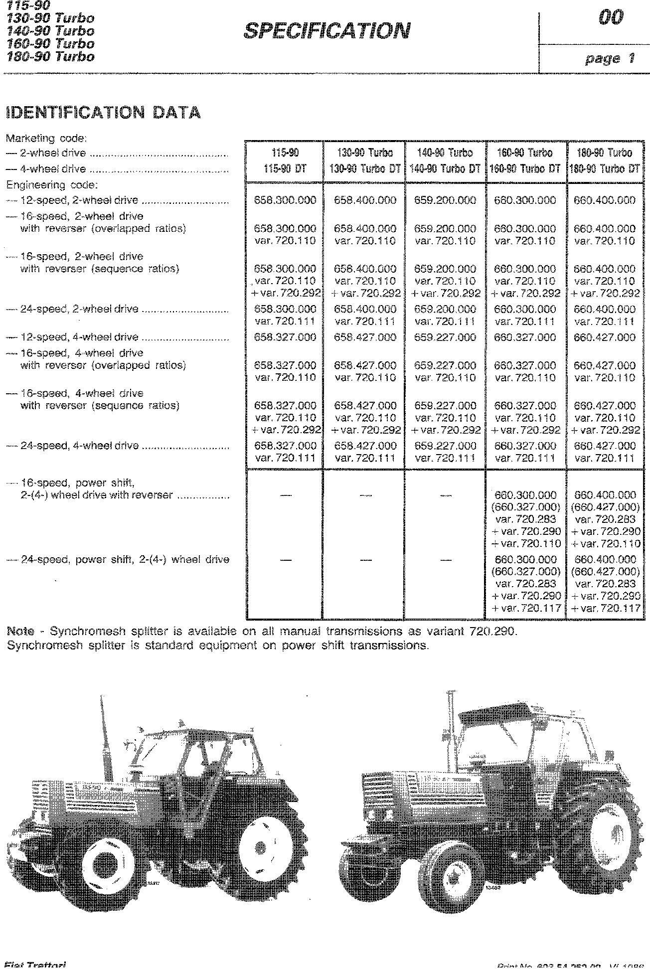 Fiat 115-90, 130-90, 140-90, 160-90, 180-90 Turbo Tractor Service Manual - 1