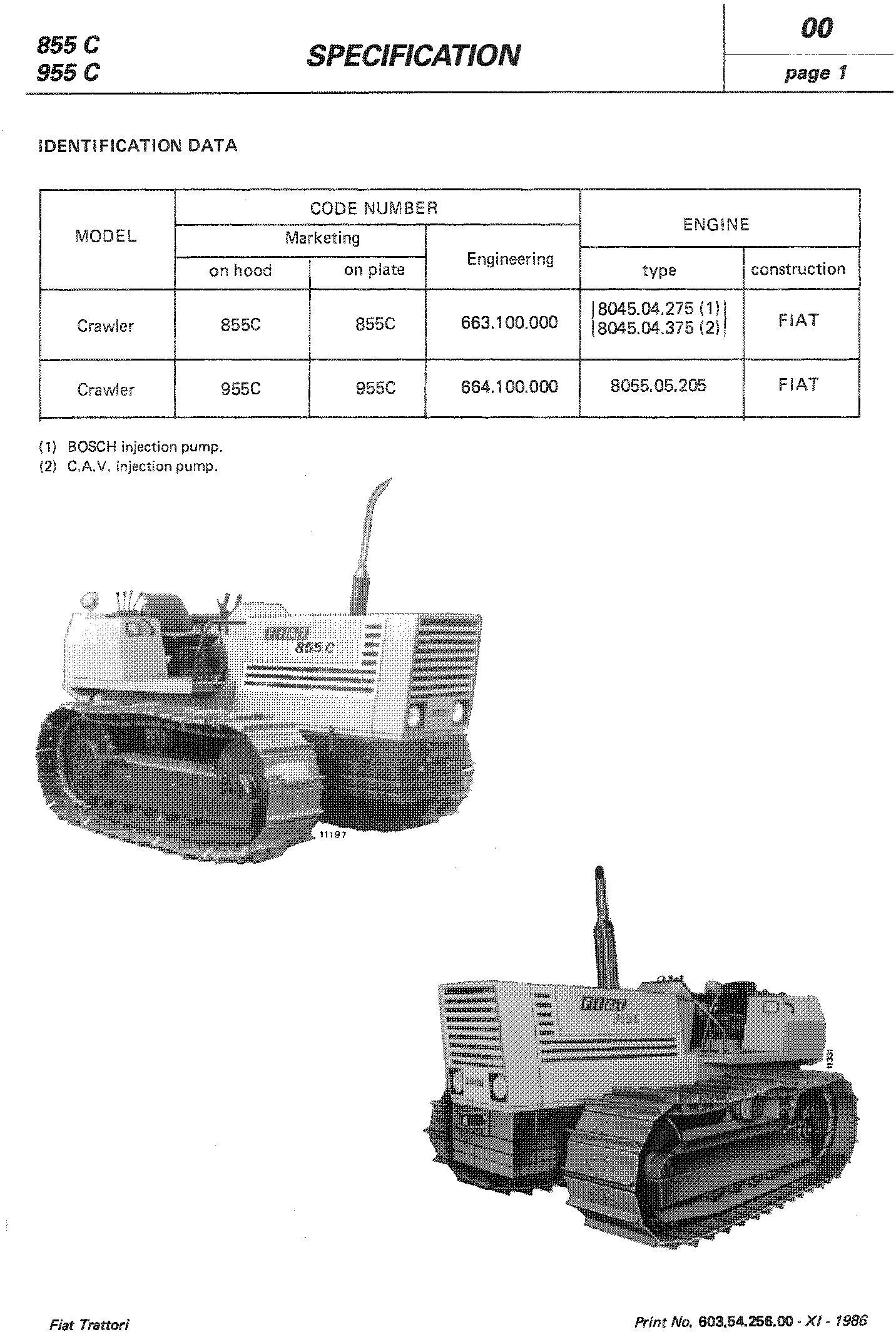 Fiat 855C, 955C, 85-55, 95-55 Crawler Tractor Workshop Service Manual (6035425600) - 1