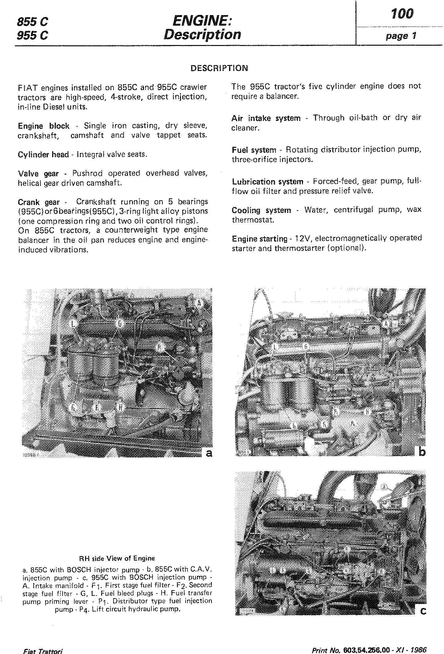 Fiat 855C, 955C, 85-55, 95-55 Crawler Tractor Workshop Service Manual (6035425600) - 3