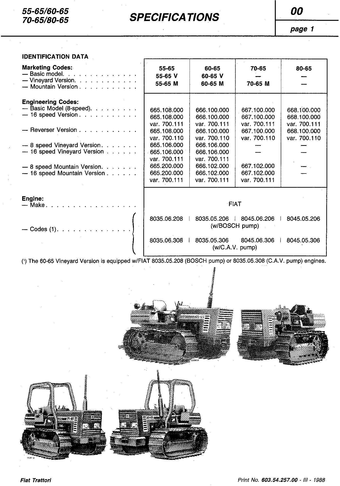 Fiat 55-65, 60-65, 70-65, 80-65, 465C, 565C, 665C, 765C Crawler Tractor Service Manual (6035425700) - 1