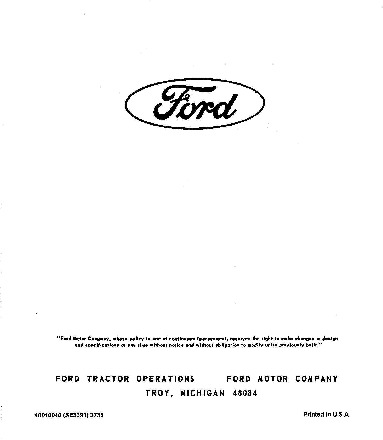 Ford 100, 120, 125, 145 Garden Tractor Service Manual (Se3391) - 2