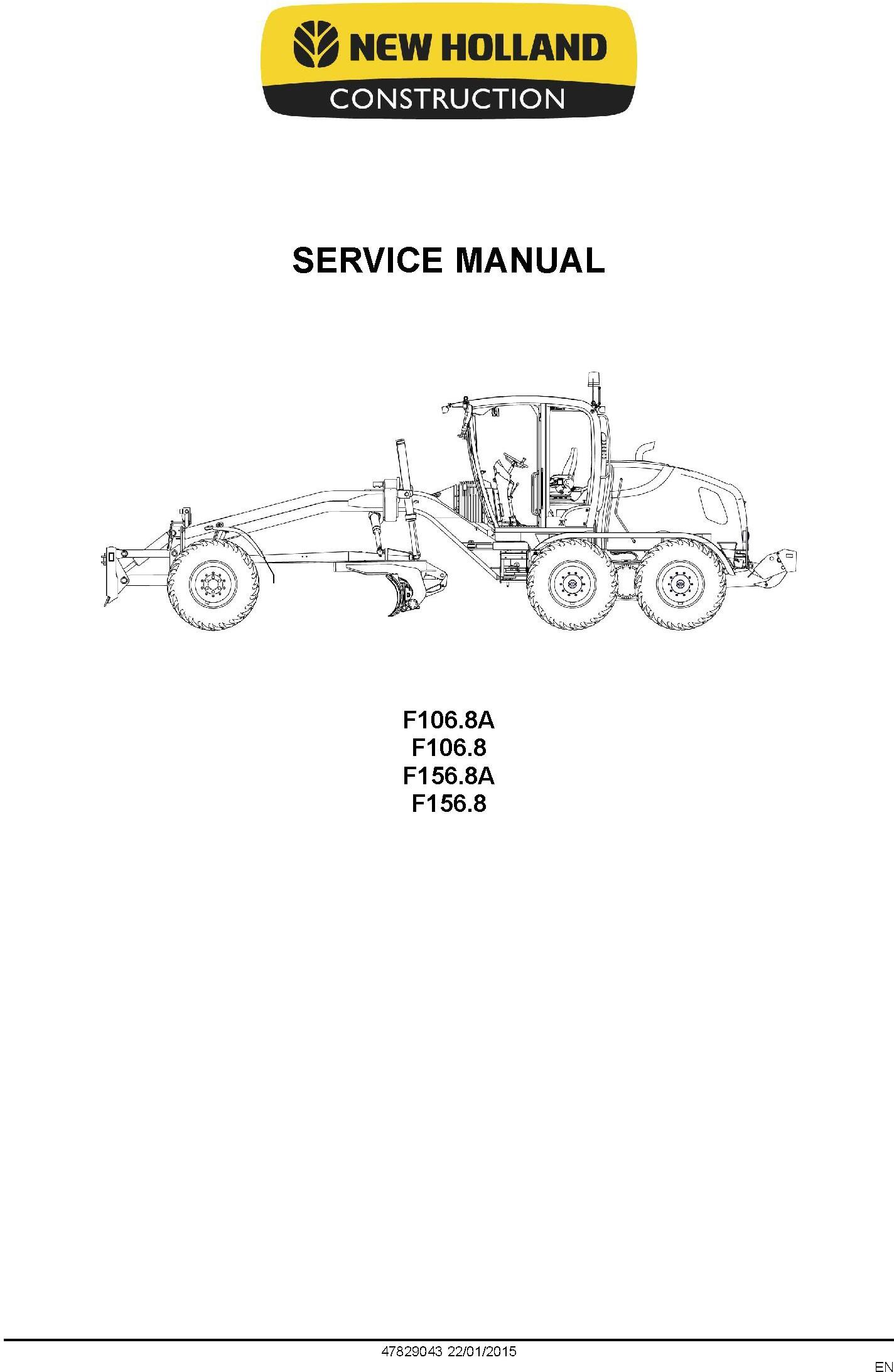 New Holland F106.8, F106.8A, F156.8, F156.8A Motor grader Service Manual - 1