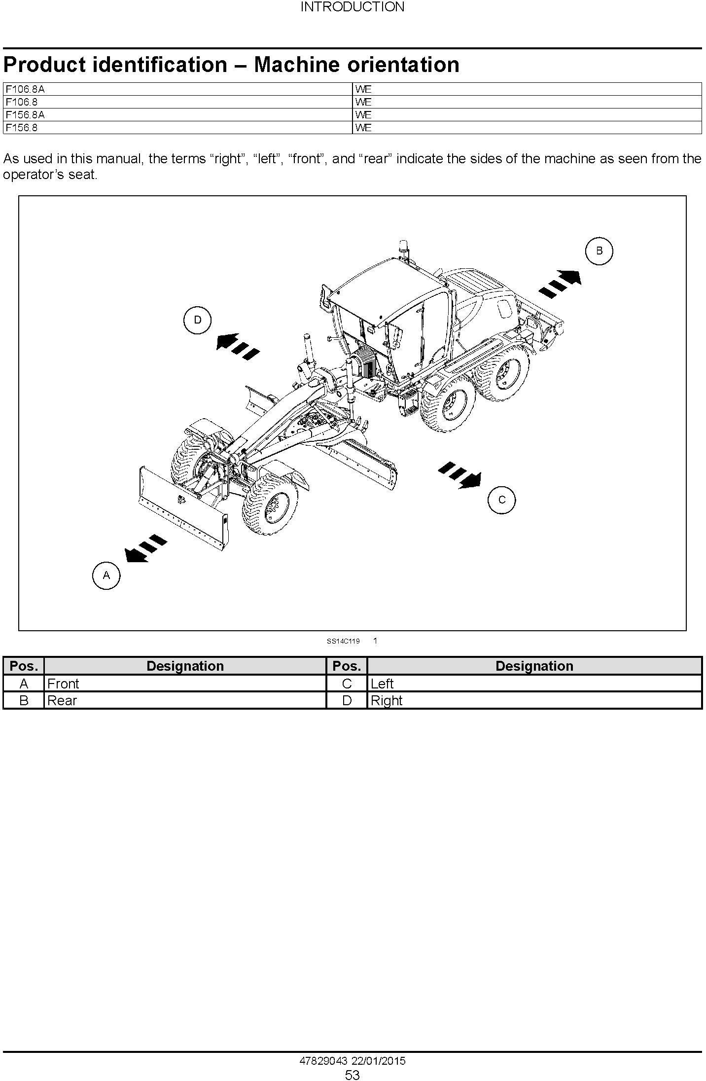 New Holland F106.8, F106.8A, F156.8, F156.8A Motor grader Service Manual - 2