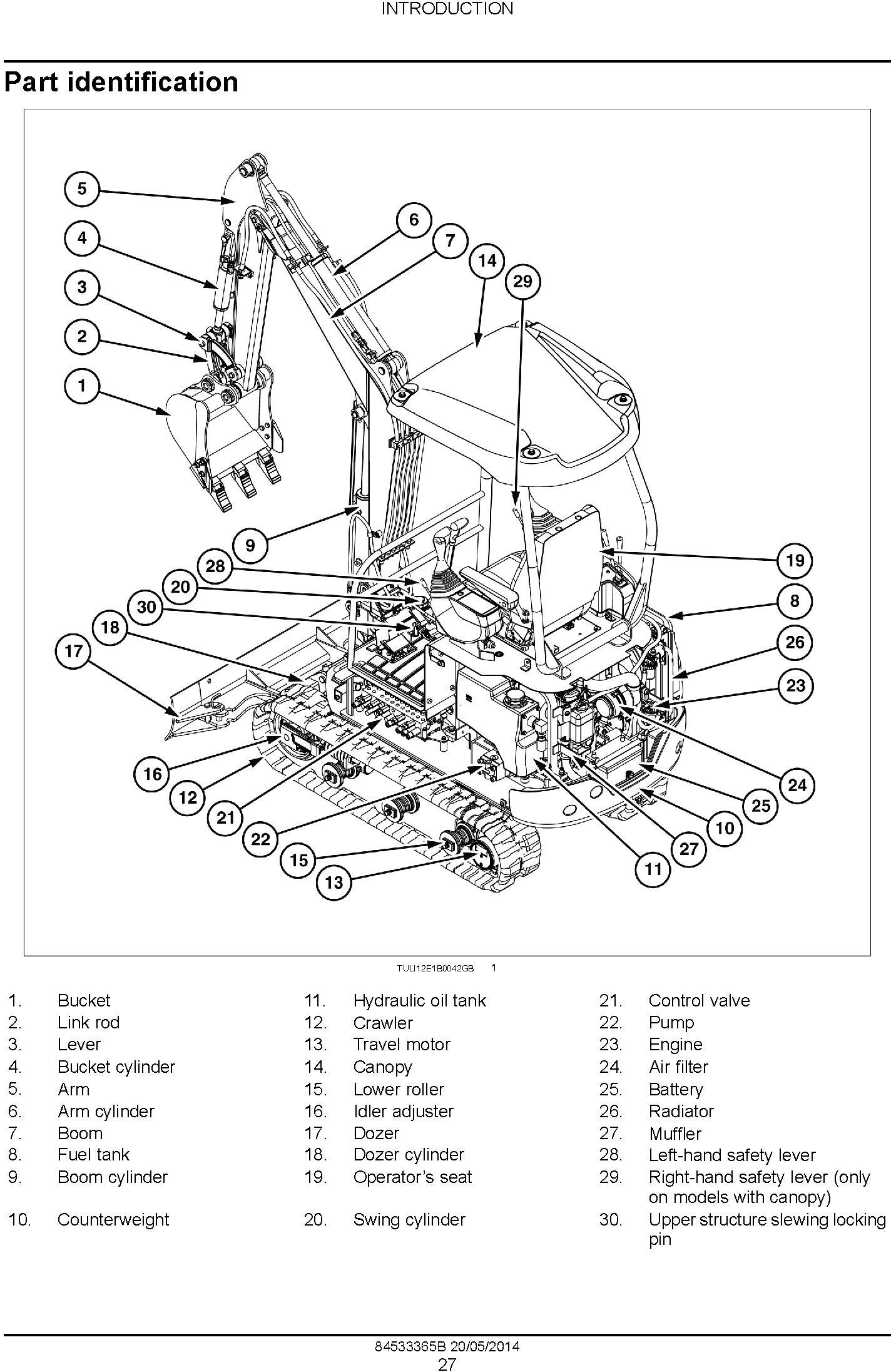 New Holland E16B, E18B Mini Excavator Service Manual - 1