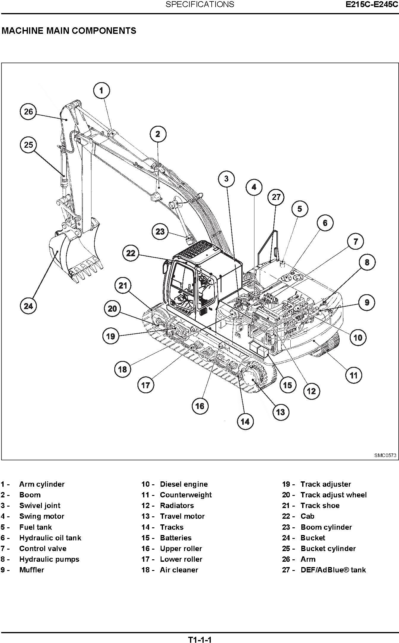 New Holland E215C, E245C Tier IV Crawler Excavators Service Manual (10-2011) - 1