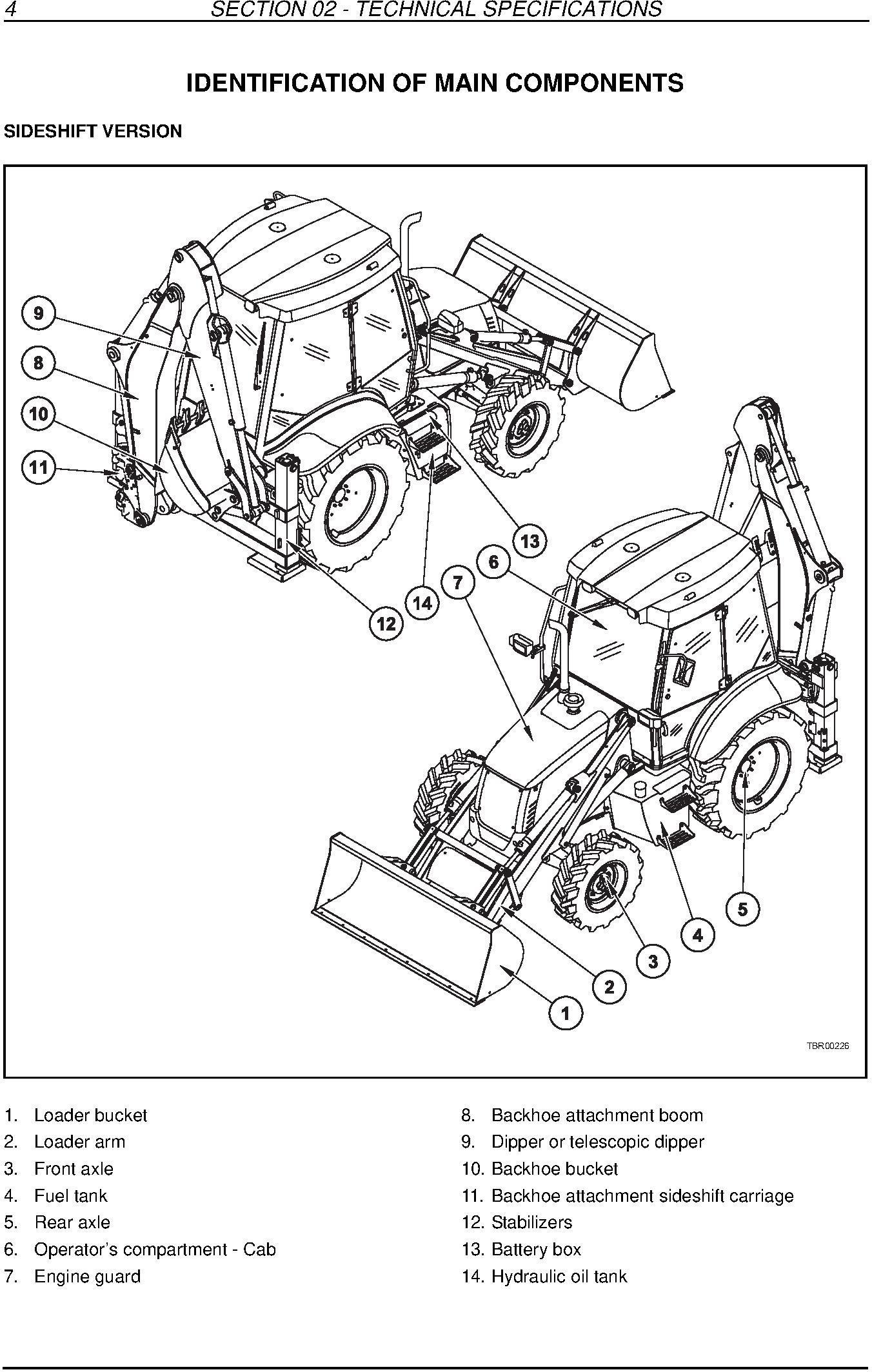 New Holland B90B, B90BLR, B100BTC, B110B, B110BTC, B115B Backhoe Loader Service Manual - 1