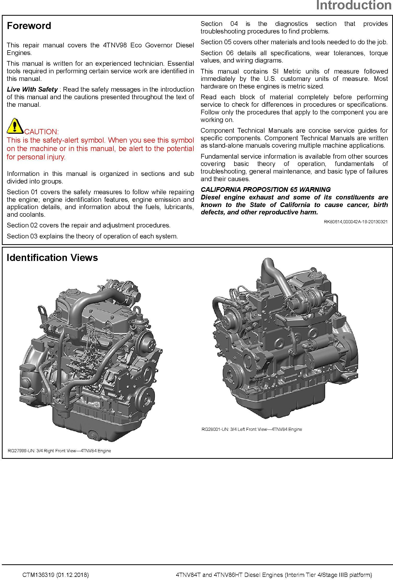 Yanmar 4TNV84T and 4TNV86HT Diesel Engines (IT4/Stage IIIB) Technical Service Manual (CTM136319) - 3