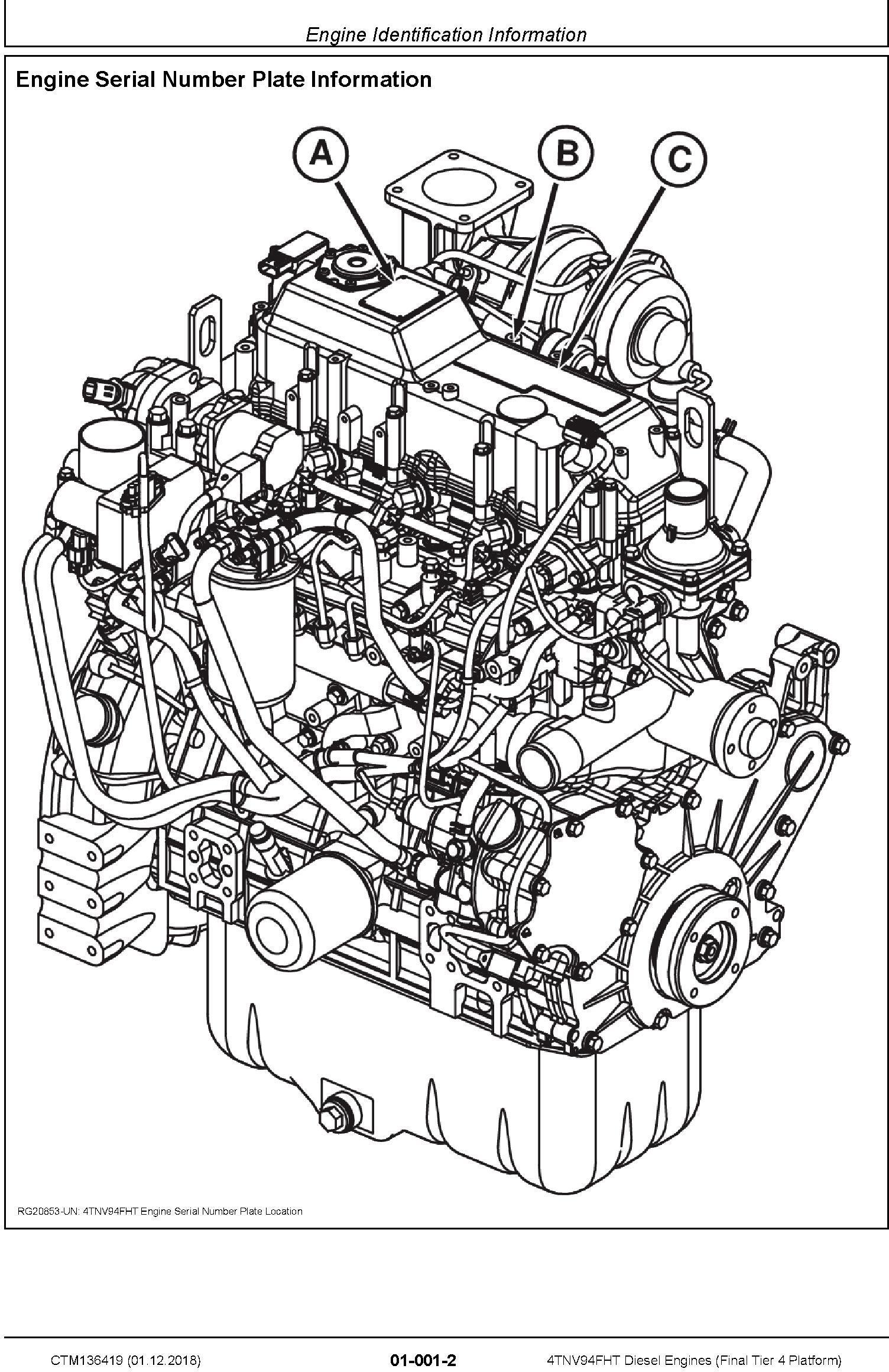 Yanmar 4TNV94FHT Diesel Engines (Final Tier 4 Platform) Technical Service Manual (CTM136419) - 2