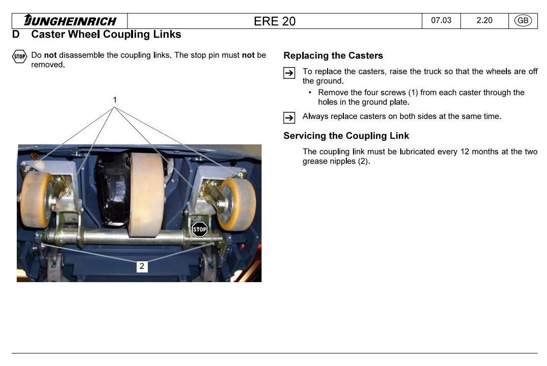 Jungheinrich ERE K20 (03.2005-10.2012) Electric stacker Workshop Service Manual - 1
