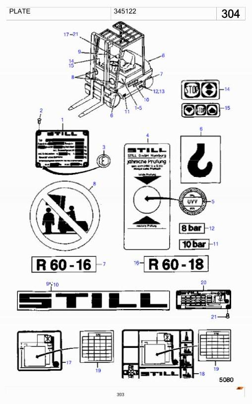 Still R60-16, R60-18 Electric Forklift Truck Series 6010, 6021 Spare Parts List - 1