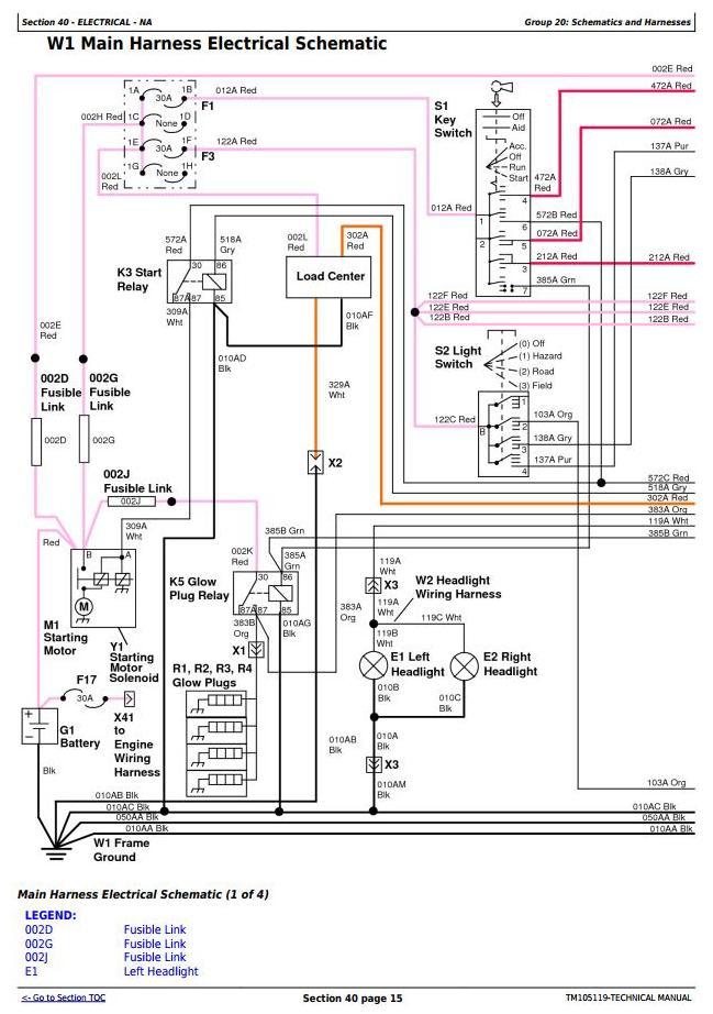 [FPER_4992]  John Deere 4520, 4720 Compact Utility Tractors W/O Cab (SN. 650001-)  Technical Service Manual (TM105119) / Truck Service Manual Store | John Deere 4520 Wiring Diagram |  | Berlogic