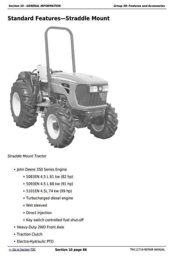 John Deere 5083EN 5093EN 5101EN Tractors Repair Technical