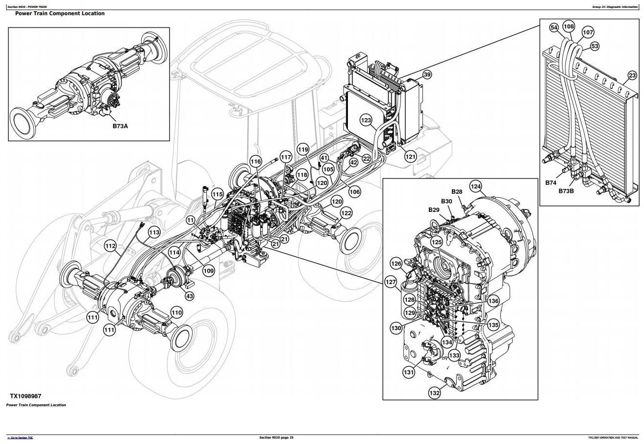 John Deere 544K 4WD Loader (SN.E642665-670307) w.Engine 6068HDW84 Diagnostic Service Manual (TM12097) - 1