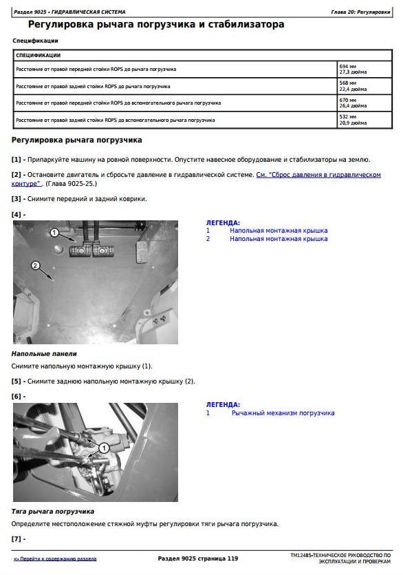 John Deere 325K (SN.C219607-234969) Backhoe Loader Diagnostic Service Manual - Russian (TM12485) - 2