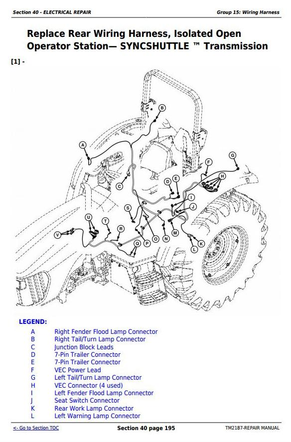 john deere tractors 5225, 5325, 5425, 5525, 5625, 5603 service repair  technical manual (tm2187)