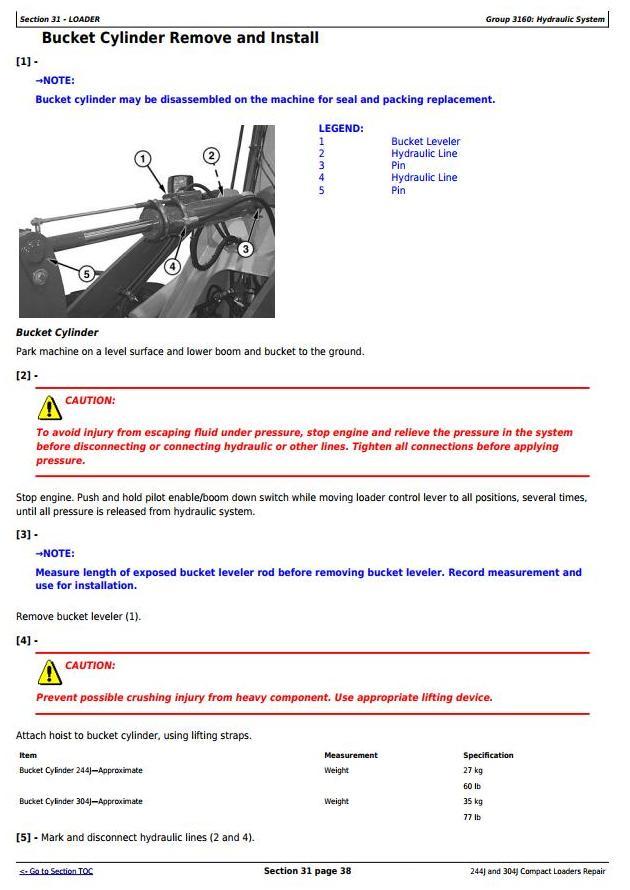 John Deere 244J (SN.-23289) , 304J (SN.-23371) Compact Loader Service Repair Technical Manual (TM2207) - 2