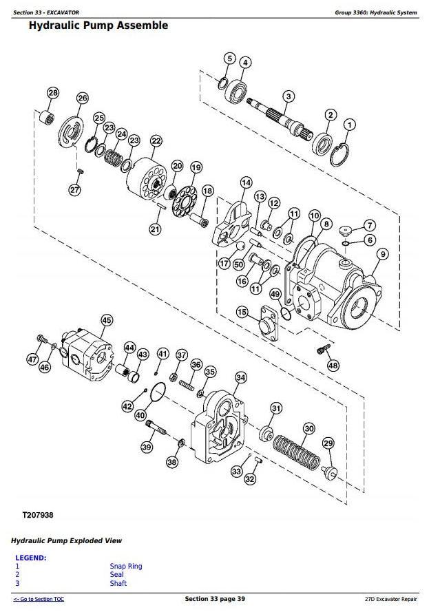 john deere 27d compact excavator service repair technical manual  tm2356     truck service manual