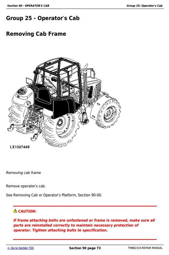John Deere 1654, 1854, 2054, 2104, 6165J, 6185J, 6205J, 6210J China Tractors Repair Manual (TM802319) - 2