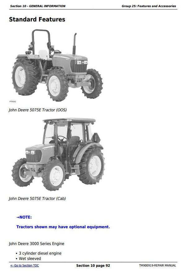 John Deere Tractors 5055e  5065  5075e  North America  Service Repair Technical Manual  Tm900919