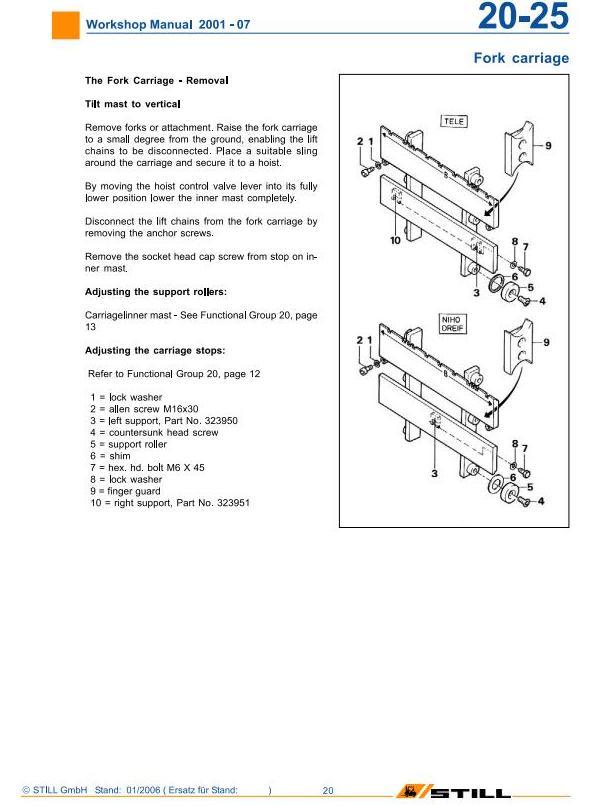 Still R20-15, R20-16, R20-17, R20-20 Electric Forklift Truck Ser.2001-2007 Workshop Service Manual - 1
