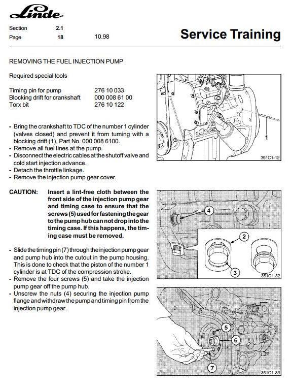 Linde H20, H25, H30, H35 D/T Diesel and LPG Forklift Truck 351-03 series Workshop Service Manual - 1
