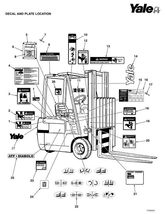 Yale ERP1.6ATF, ERP1.8ATF, ERP2.0ATF Electric Forklift Truck D807 Series Parts Manual (Europe) - 2