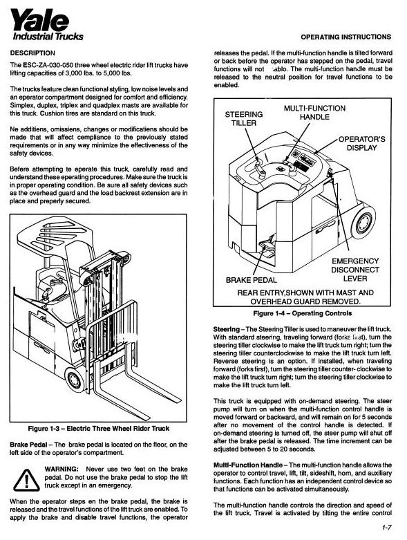 Yale ESC030ZA, ESC035ZA, ESC040ZA, ESC050ZA Electric Forklift Truck Workshop Service Maintenance Manual - 1