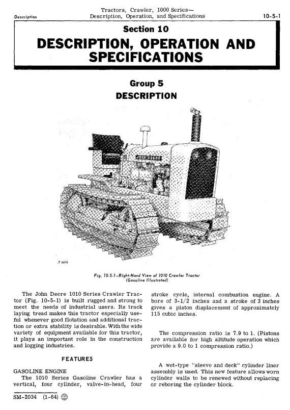 John Deere 1010 Crawler Tractors Technical Service Manual (sm2034) - 3
