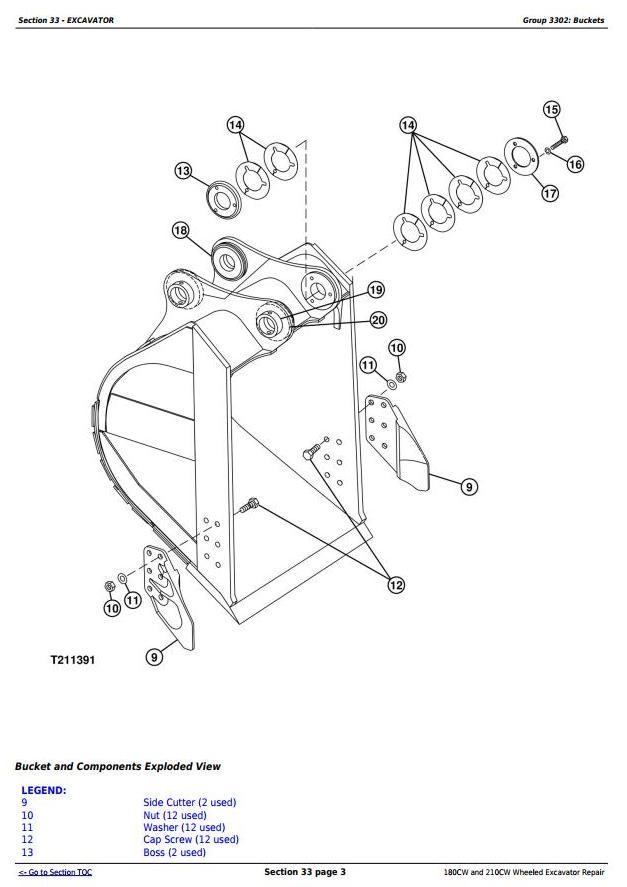 John Deere 180CW and 210CW Wheeled Excavator Service Repair Manual (tm2287) - 1