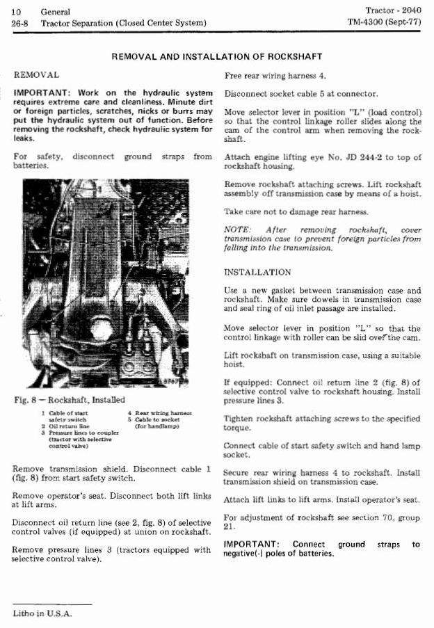 John Deere 2040 Utility Tractors (SN. 010001-349999) Technical Service Manual (tm4300) - 1