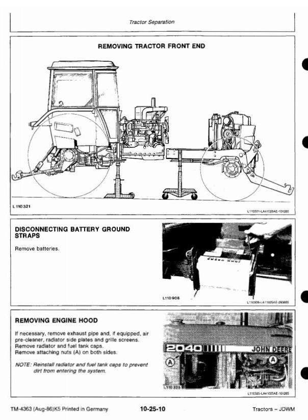 John Deere 1640 1840 2040 2040S Tractors Technical