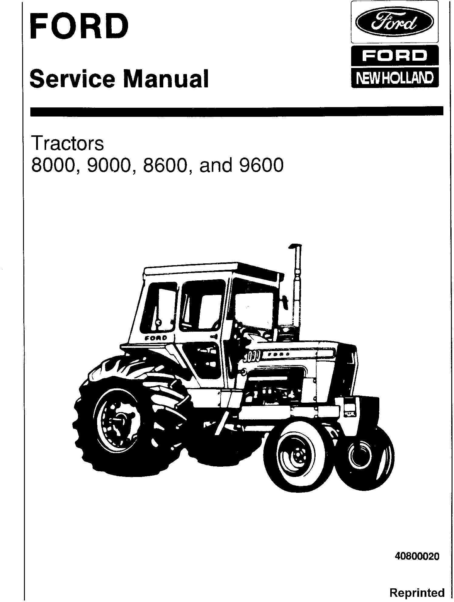 Ford 8000, 9000, 8600, 9600 Tractor Service Repair Manual (SE3095)