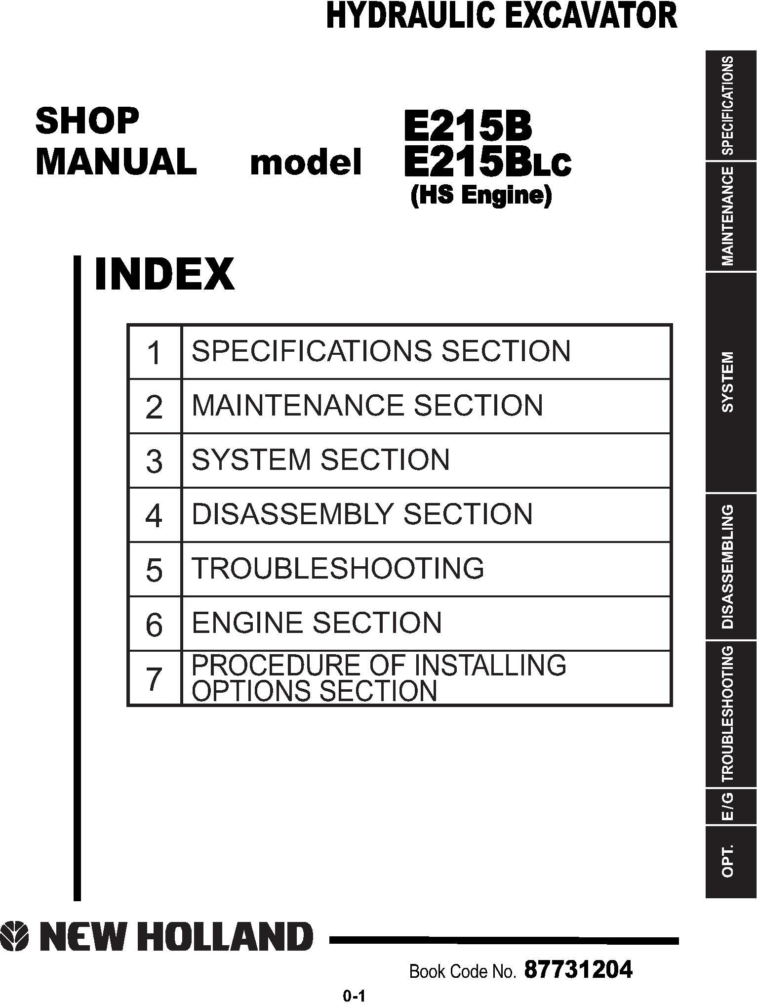 New Holland E215B, E215B LC Excavator Service Manual