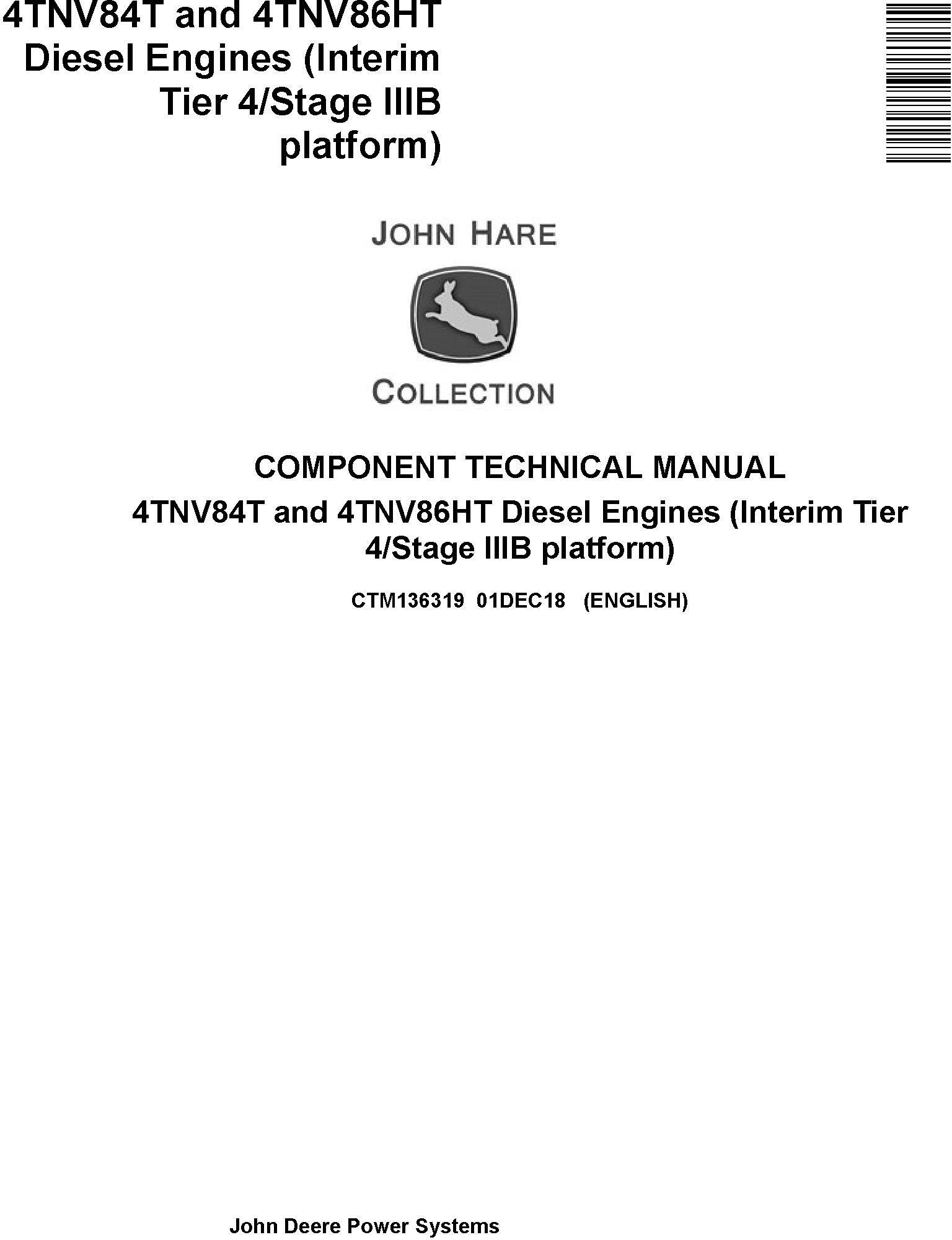 Yanmar 4TNV84T and 4TNV86HT Diesel Engines (IT4/Stage IIIB) Technical Service Manual (CTM136319)