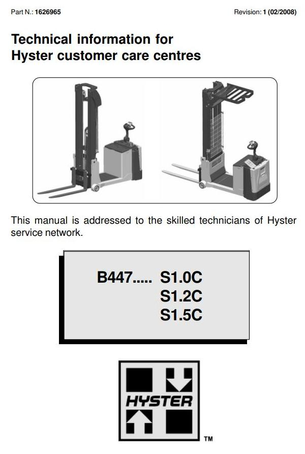 Hyster S1 0c  S1 2c  S1 5c Electric Counterbalanced