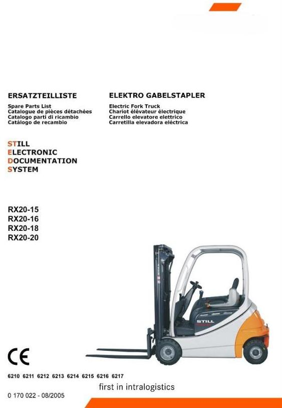 Still RX20-15, RX20-16, RX20-18, RX20-20 Electric Forklift Truck Series 6210-6217 Spare Parts Manual