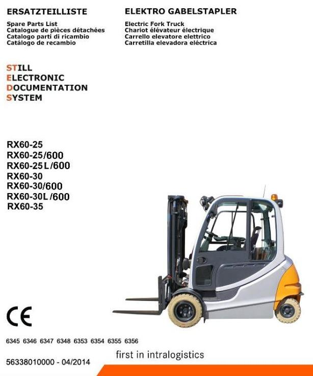 Still RX60-25, RX60-30, RX60-35 Electric Forklift Truck Ser.6345-6348, 6353-6356 Spare Parts Manual