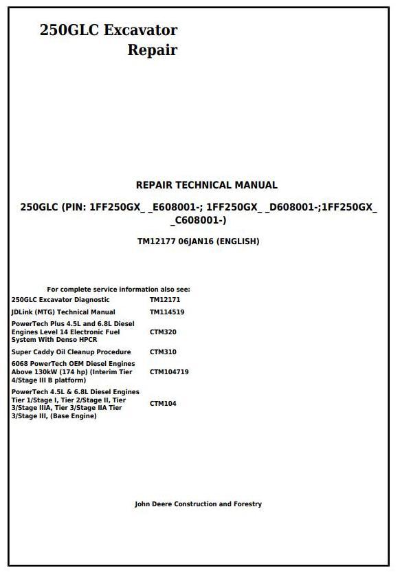 John Deere 250GLC Excavator Service Repair Technical Manual (TM12177