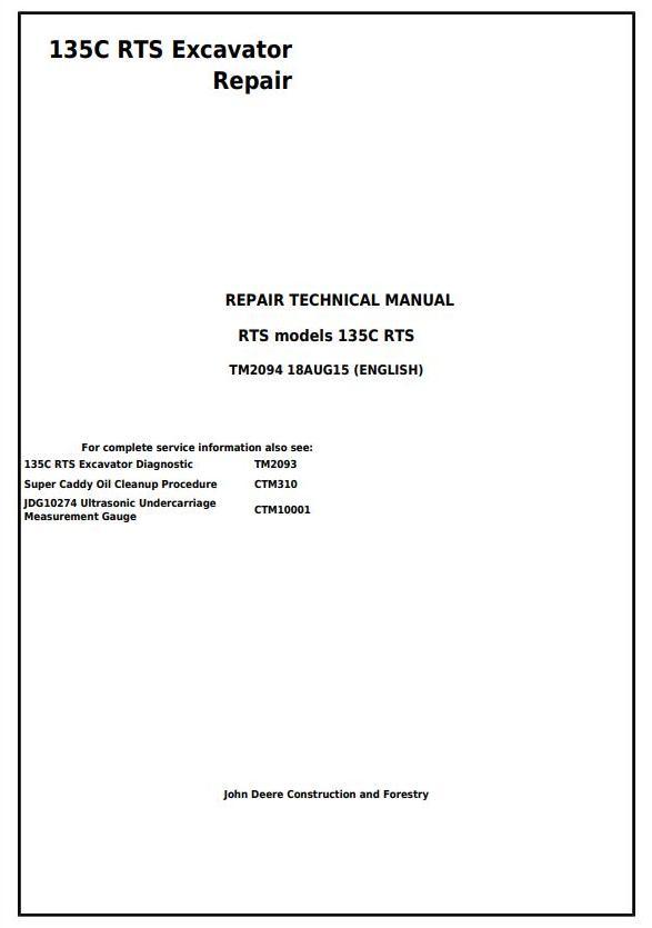 John Deere 135c Rts Rts Excavator Service Repair Manual