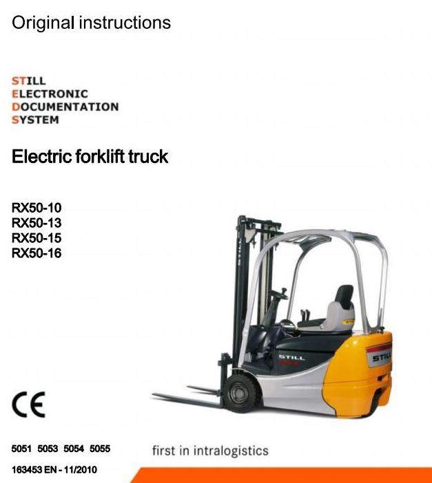 Still RX50-10, RX50-13, RX50-15, RX50-16 Electric Forklift Truck 5051, 5053-5055 Operating Manual