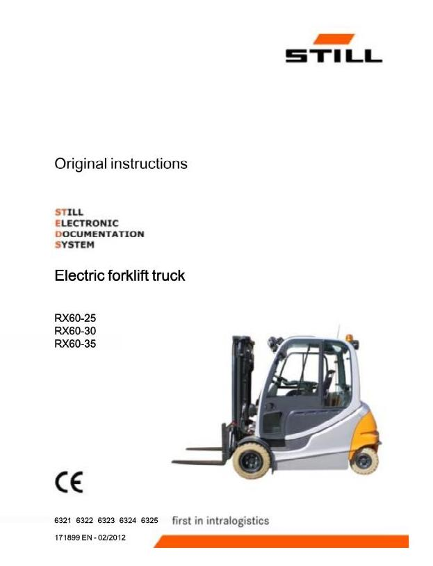 John Deere Still RX60-25, RX60-30, RX60-35 Electric Forklift Truck Series 6321-6325 Operating Instructions / Manual