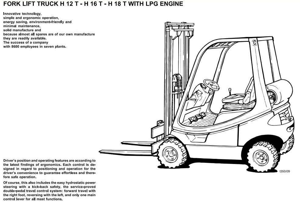 Linde H12, H16, H18 LPG Forklift Truck 350 Series Operating Instructions (User Manual)