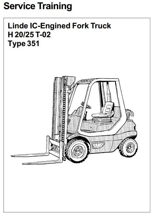 Linde H20T, H25T LPG Forklift Truck 351-02 series Workshop Service Manual