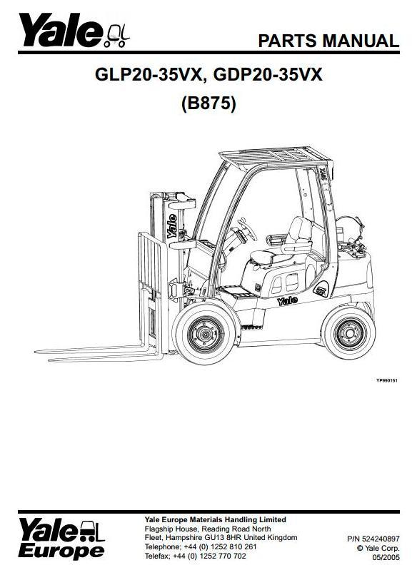 Yale Glp60vx Glp70vx Gdp60vx Gdp70vx Forklift Truck D878 Series Parts Manual Truck Service Manual Store