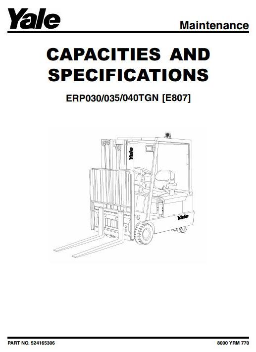 Yale ERP030TGN, ERP035TGN, ERP040TGN Electric Forklift Truck E807 Series Workshop Service Manual