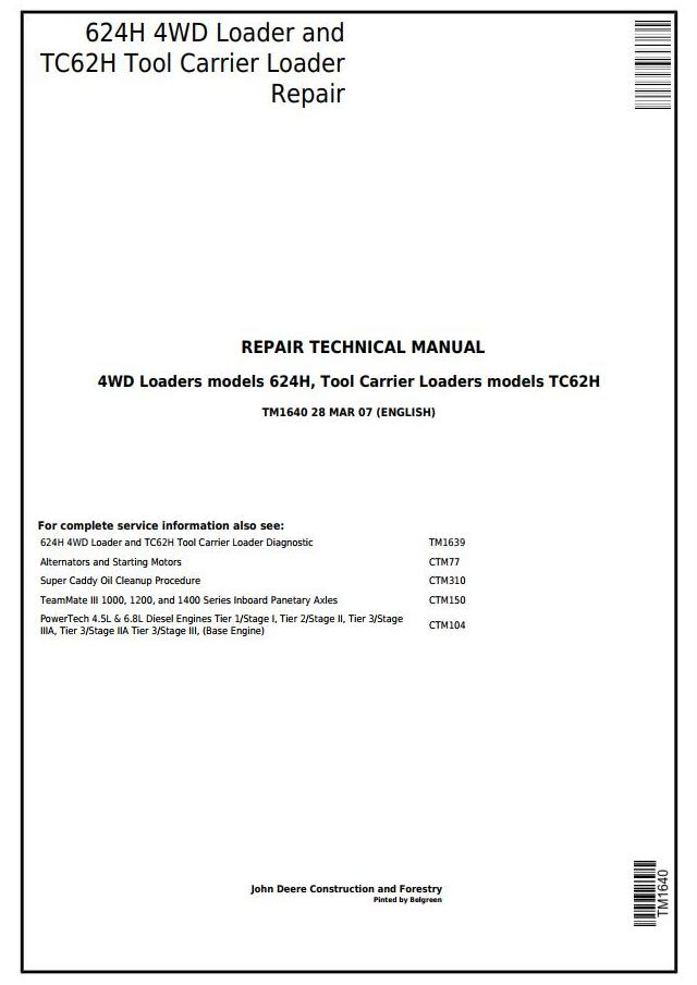 John Deere 624H 4WD Loader and TC62H Tool Carrier Loader ... on
