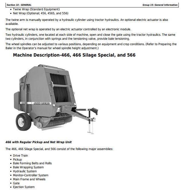 John Deere 456 Silage Special  Round Baler Operator/'s manual 112,701 up JDH6