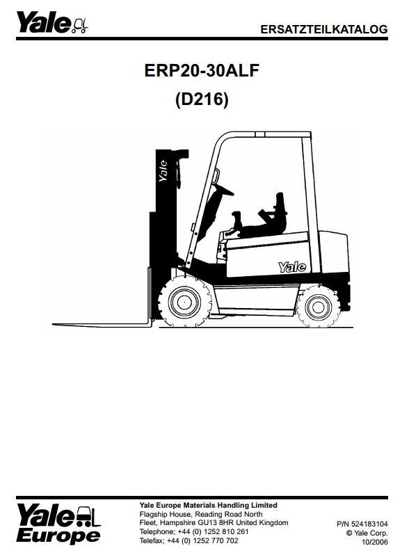 Yale ERP20ALF, ERP25ALF, ERP30ALF Electric Forklift Truck D216 Series Parts Manual (Europe)