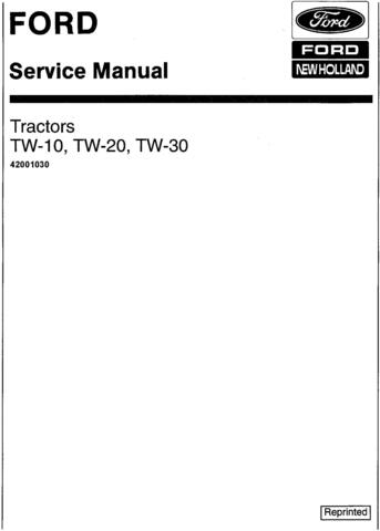 Ford TW10, TW20, TW30 Tractor Service Manual (SE3734)