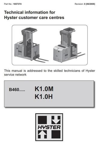 Hyster K1.0M, K1.0H Order Picker B460 Series Workshop Service Manual